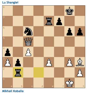 Who needs knights? Here the passed b3 pawn is the much bigger threat, and White lacks any coordination to do anything with his short-term material advantage.