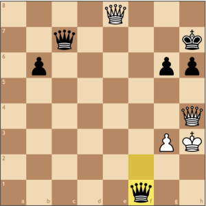 I've never beaten an opponent who has two queens on the board before, but White resigned as Kg4 loses to ...Qf5#, and Kh2 falls prey to ...Qc2+ and mate on the next move.