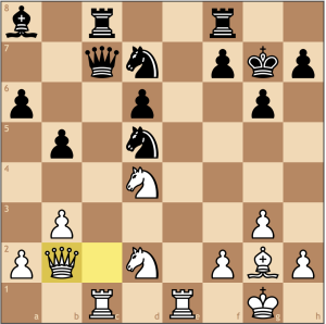 Excellent choice! White threatens both the queen on c7 and a discovered check along the long diagonal. Black thought was out of the woods after ...Ba8, but that is simply not the case!