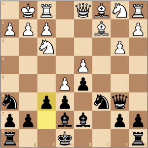 A thematic break in such positions. Black hopes to weaken white's central hold, and now the knight can choose f5 or f7, depending on what White chooses. Even without a castled king, Black has enough development to compensate.